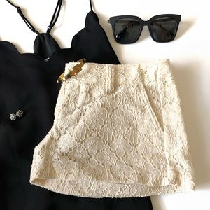 Pants - | lovely lace cream shorts |